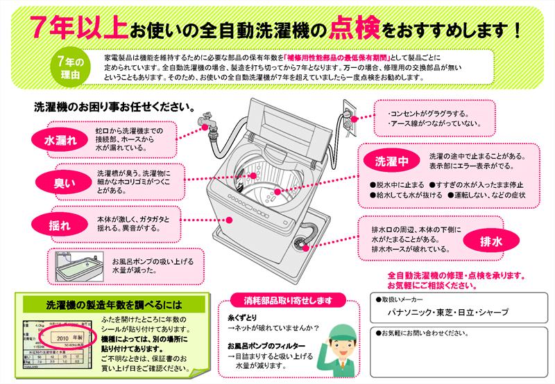 全自動洗濯機の点検チラシ【7年以上】